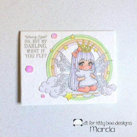 #thefrolickingfairy #kittybeedesigns #alohafridaychallenge #cardchallenge #leannsworld101 #chibi #princess #princessonacloud #digitalstamp #copiccoloring #birthday #butwhatifyoufly #pastels #handmade #papercraft #kindredstamps #starstencil #dryembossing