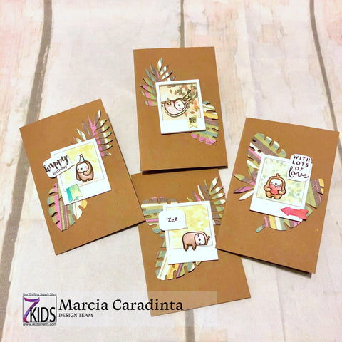 #thefrolickingfairy #7kidscraftingsupplystore #mamaelephant #littleslothagenda #hellobluebird #tropicalfoliage #minicards #skinnymini #cardcollection #watercolor #distressmarkers #funkyfoliage #ssswchallenge #cardchallenge #7kidscustomerscreate #facebooklive #cardmaker #cardmaking