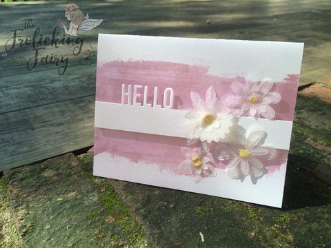 #thefrolickingfairy #mftstamps #designsuperstar #cleanandsimple #cas #handmadecards #vellum #hello #stitchedflowers #nuvo #nuvomousse