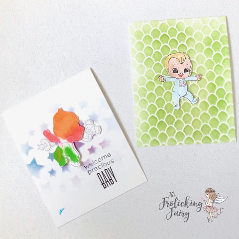 #thefrolickingfairy #mmedelillustrations #hellobaby #baby #pregnancy #pregnant #inthewomb #littlebaby #babygirl #welcomebaby #watercolor #stencils #kindredstamps #handmade #papercraft #cardmaking #cardmaker #kidscreate #craftingwithkids