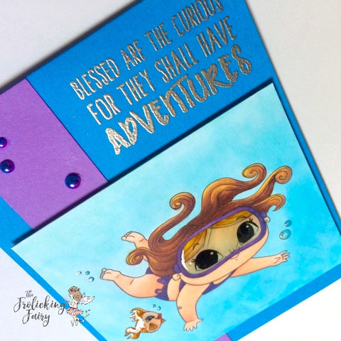 #thefrolickingfairy #mmedelillustrations #mmedel #neatandtangled #scuba #snorkling #underwater #adventure #copiccoloring #glossyaccents #pearls #summer #curious #handmade #handmadecards
