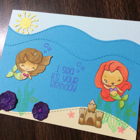 The Frolicking Fairy mermaids handmade card sand castle The Greeting Farm stamp set ocean waves sunshine seaweed starfish
