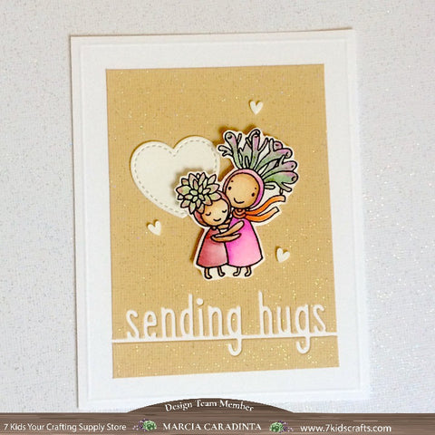 #thefrolickingfairy #picketfencestudios #lawnfawn #iamahugger #sunshinefriends #succulents #succulent #sendinghugs #watercolor #arteza #realbrushpens #7kidscraftingsupplystore #7kidscustomerscreate #cleanandsimple #candyhearts #hugs #partialdiecutting #handmade #papercraft