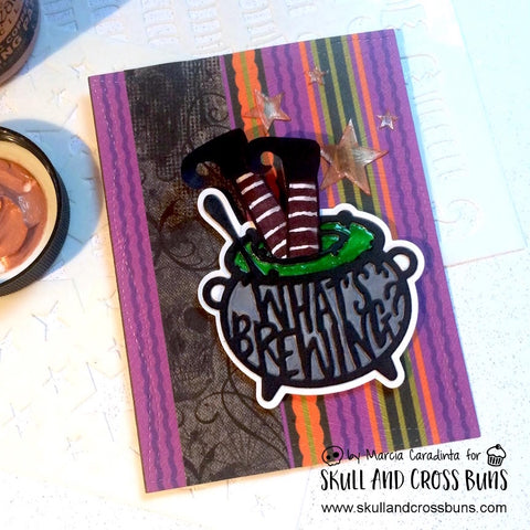 #thefrolickingfairy #skullandcrossbuns #elfstockings #starsandsparkles #stencils #halloween #witch #whatsbrewing #arteza #realbrushpens #cauldron #witchlegs #tonicstudiosusa #tonicstudios #handmade #handmadehalloween