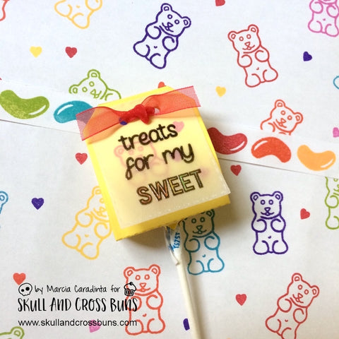 #thefrolickingfairy #skullandcrossbuns #retrosweeties #gummybears #jellybeans #sweettreats #jadedblossom #lollipopdie #diy #catherinepooler #catherinepoolerinks #candytreats #lunchboxtreats #rainbow #distressink #stencil #handmade #createandcrafttv