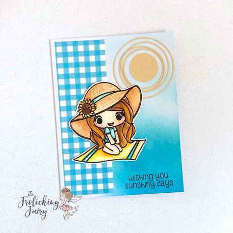 #thefrolickingfairy #stampanniething #annie #sunshinydays #watercolor #arteza #sunshine #atthebeach #catchingrays #cardchallenge #chibi #handmade #cardmaker #kindredstamps #poolparty #patternedpaper #gingham