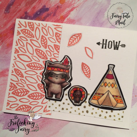 #thefrolickingfairy #fairytalemail #subscription #personalized #kidslovemail #sendingsmiles #handmadecards #sugarpeadesigns #indiansummer #raccoon #turkey #teepee #handmademagnets #buildascene