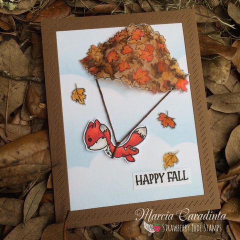 #thefrolickingfairy #strawberryjudestamps #parachute #skydiving #fox #leaves #fall #takealeap