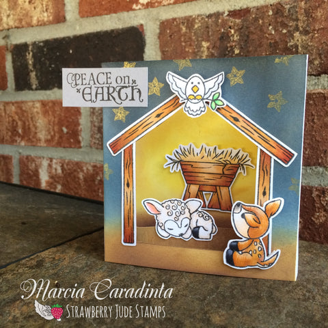 #thefrolickingfairy #strawberryjudestamps #lambkin #fawn #lamb #manger #nativity #shadowbox #shadowboxcard #copiccoloring #distressoxide #delicataink #handmade #handmadecards