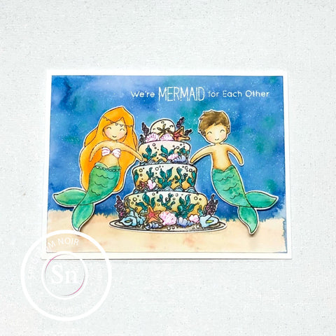 #thefrolickingfairy #spectrumnoir #spectember #underthesea #watercolor #aquamarkers #sparkleink #mermaids #mermaidforeachother #merman #stickerkitten #funstampersjourney #cake #weddingcake #ocean #sea #papercraft #cardmaking #cardmaker #handmade