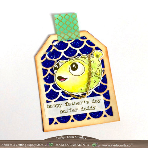 #thefrolickingfairy #7kidscraftingsupplystore #sweetnovember #mermaid #pufferfish #puffer #puffdaddy #pufferdaddy #pdiddy #puffdaddy #fathersday #tag #bling #goldchain #spectrumnoir #aquamarkers #watercolor #digitalstamp #digi #freebie #papercraft #handmade