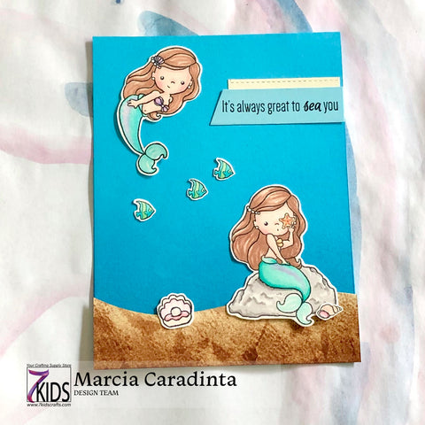 #thefrolickingfairy #sugarpeadesigns #7kidscraftingsupplystore #mermaidkisses #littlemermaid #mermaid #greattoseayou #makeasplash #alwaysbeamermaid #alcoholmakers #spectrumnoir #cardmaker #cardmaking #clearstamps #papercraft #cardchallenge