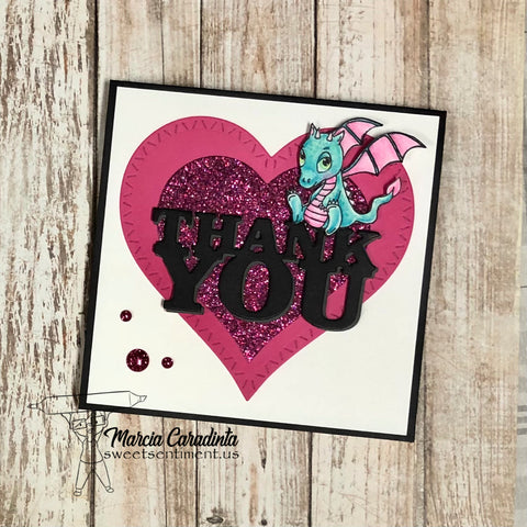 #thefrolickingfairy #sweetsentiment #babydragons #dragon #dragonbaby #smokin #colorallthethings #thankyou #thankyoucard #layeredhearts #glitter #coloredpencils #prismacolor #worddies #sentimentdies #cardmaker #cardmaking #cardmakersofinstagram