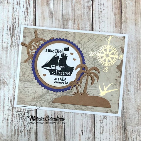 #thefrolickingfairy #sweetsentiment #colorallthethings #whatskraken #ilikebigships #ships #sailboat #diecuts #lalalandcrafts #oldmap #foiling #masculine #kraft #nocoloring #cardmaker #cardmaking #cardmakersofinstagram