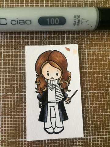 #thefrolickingfairy #kindredstamps #wizardfriends #harrypotter #hermionegranger #copicmarkers #shading #technique #copiccoloring