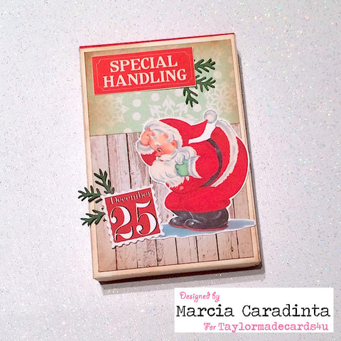 #thefrolickingfairy #taylormadecards4u #retrosanta #santa #specialhandling #giftbox #christmas #vintage #handmade #digitalimages #ephemera #etsyshop