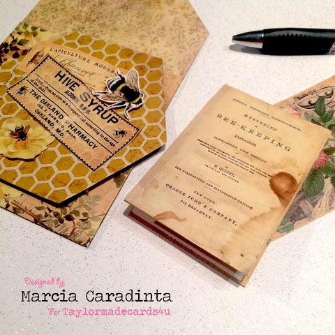 #thefrolickingfairy #taylormadecards4u #tmc4u #vintagegardenpassportkit #vintagegarden #passportkit #digitalephemera #bees #honey #honeycomb #notepad #bumblebee #papercraft #digitalpaper #handmade