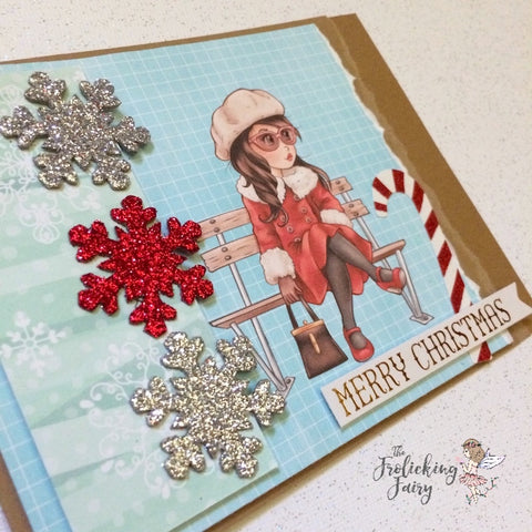 #thefrolickingfairy #thepapershelter #snugbutstylish #merrychristmas #sketchsaturday #cardchallenge #digitalstamps #snowflakes #chilly #christmas #christmascards #handmade #papercraft