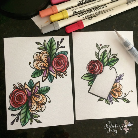 #thefrolickingfairy #tonicstudios #tonicstudiosusa #floraltag #flowers #watercolor #distressmarkers #faeandpixie #fairy #pixie #silhouette #toniccraftkit #intricatedies #magical #magicalday #foryou #handmade #papercraft
