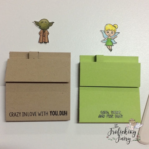 #thefrolickingfairy #kindredstamps #tutorial #yoda #tinkerbell #ewok #galacticadventures #nevergrowup #postit #postitnote #noteholders #minipens #justanote #copiccoloring #handmadegifts