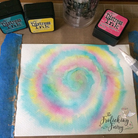 #thefrolickingfairy #tutorial #tiedye #distressinks #technique #hippie #watercolor #oogieboogie