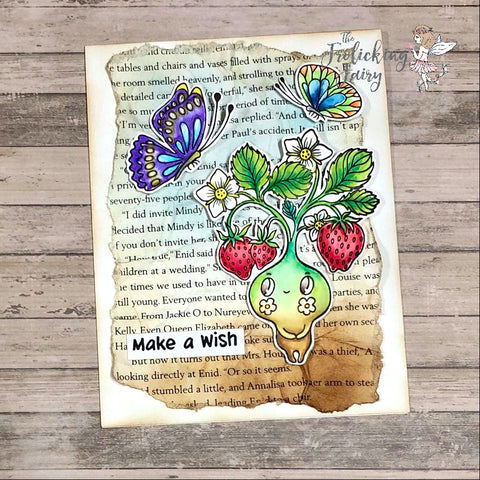 #thefrolickingfairy #waffleflowercrafts #letlovegrow #waffleflower #strawberry #plantpeople #sprite #butterflies #mixedmedia #bookpage #watercolor #karinmarkers #whimsical #whimsy #rainbowcolors #colorsoftherainbow #paintarainbow #cardchallenge #waffleflowergarden #cardmaker #cardmaking #cardmakersofinstgram