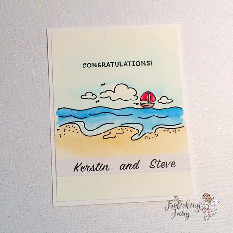 #thefrolickingfairy #casology #casologychallenge #wave #waffleflower #waffleflowercrafts #saltykisses #cas #cleanandsimple #watercolor #beach #willyoumarryme #engagement #congrats #congratulations #papercraft #handmade