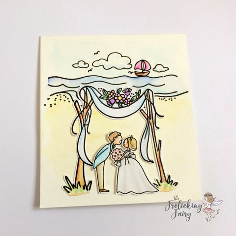 #thefrolickingfairy #waffleflower #waffleflowercrafts #saltykisses #weddingday #beachwedding #wedding #brideandgroom #spectrumnoir #watercolor #aquablend #aquamarkers #beach #junebride #summerwedding #wedding #weddingcard #papercraft #cardmaker #handmade