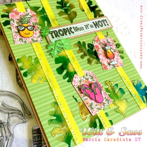 #thefrolickingfairy #wittandsassstampco #tropiclikeitshot #flamingo #flockingfabulous #tropical #pineapple #layeringstencil #tropicalleaves #foiling #thermoweb #flipflops #mixeddrinks #copiccoloring #miamivice #ilovethe80s #popofpink #handmadecards