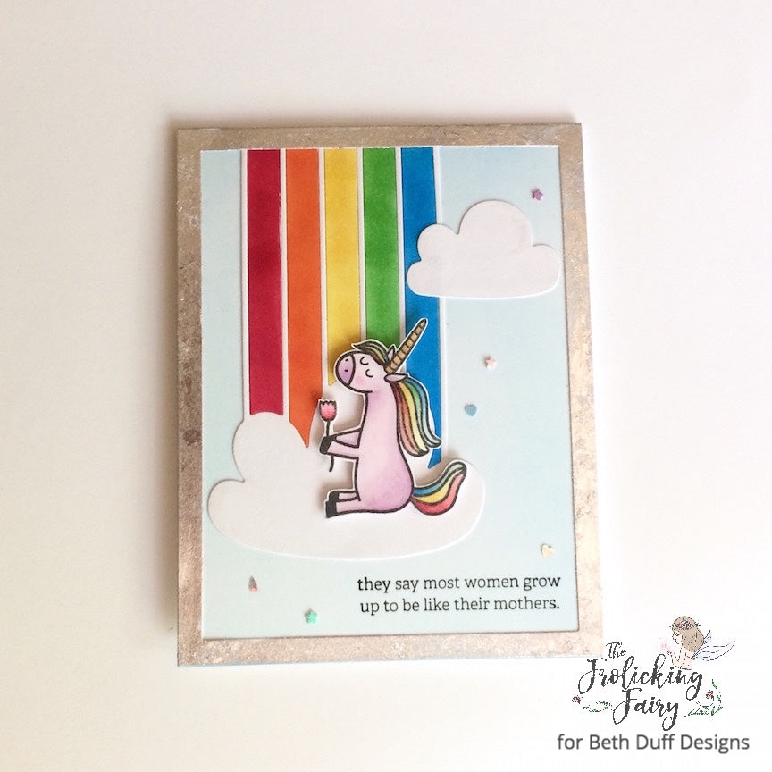 #thefrolickingfairy #bethduffdesigns #unicornfarts #likemother #likedaughter #mothersday #mother #unicorn #rainbow #waffleflower #stampinup #nuvo #gildingflakes