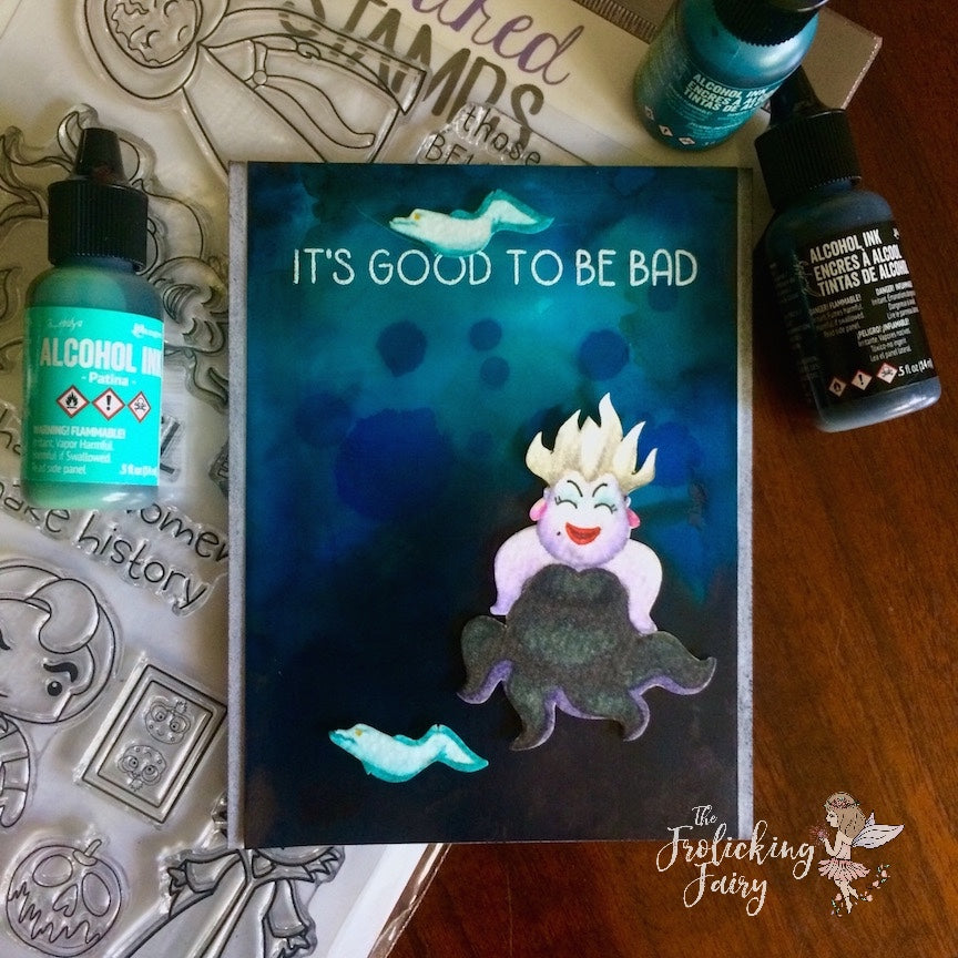 #thefrolickingfairy #kindredstamps #itsgoodtobebad #seawitch #ocean #sea #villain #witch #alcoholink #watercolor