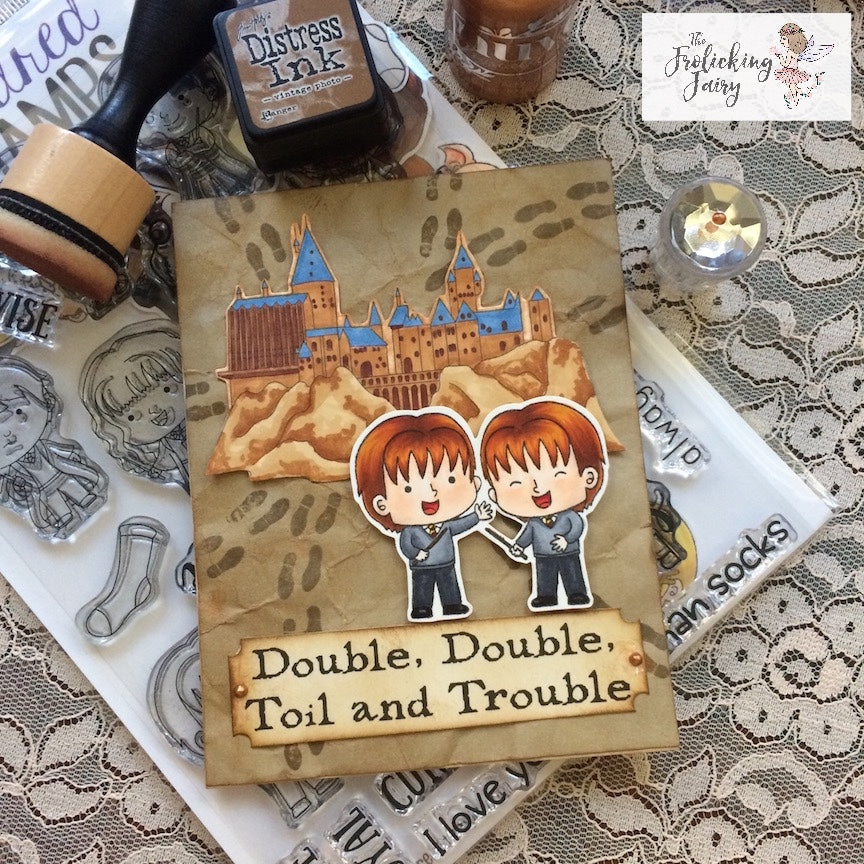 #thefrolickingfairy #kindredstamps #studentsofmagic #twins #doubletrouble #magic #map #wizard #schoolofmagic #mischief #isolemnlyswear