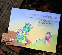 #thefrolickingfairy #mftstamps #magicaldragons #fart #knight #princess #handmadecards #magical #defendtheprincess