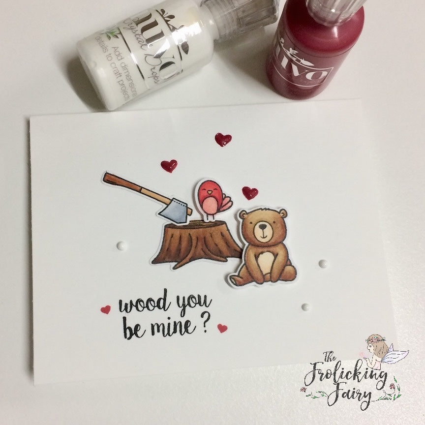 #thefrolickingfairy #neatandtangled #lumberjacklove #nuvodrops #cas #cleanandsimple #woodyoubemine #valentinesday #handmade #handmadecards #bear #sequins #woodgrain