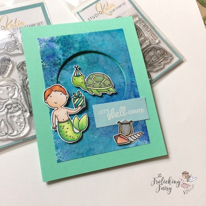 #thefrolickingfairy #studiokatia #mermaidforeachother #shellebration #merman #turtle #ocean #birthday #birthdaycard