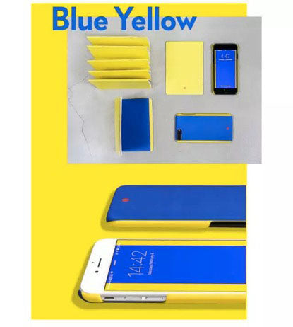 yellow and blue phone case