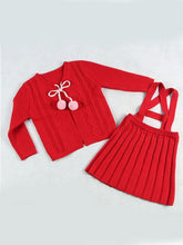 Load image into Gallery viewer, Knitted Sweater Cardigan Top Straps Skirt Set