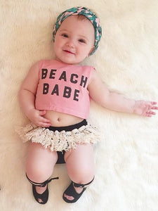 2-piece Set Printed Sleeveless Top Fringed Shorts for Baby Girls