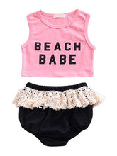 Load image into Gallery viewer, 2-piece Set Printed Sleeveless Top Fringed Shorts for Baby Girls