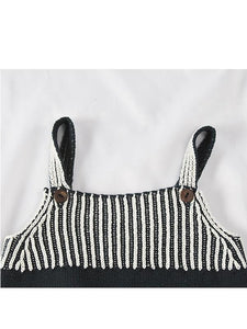 Strapped Bodysuit Color Block Stripes Knitted Romper