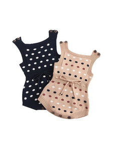 Dots Knitted Sleeveless Bodysuit Cotton Romper