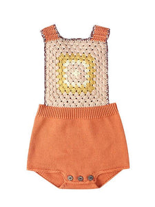 Sleeveless Strapped Bodysuit Knitted Graphic Cotton Romper for Baby Toddler Boys Girls