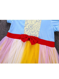 Short Sleeve Colorful Holiday Wear Tulle Bowknot Cotton Princess Dress