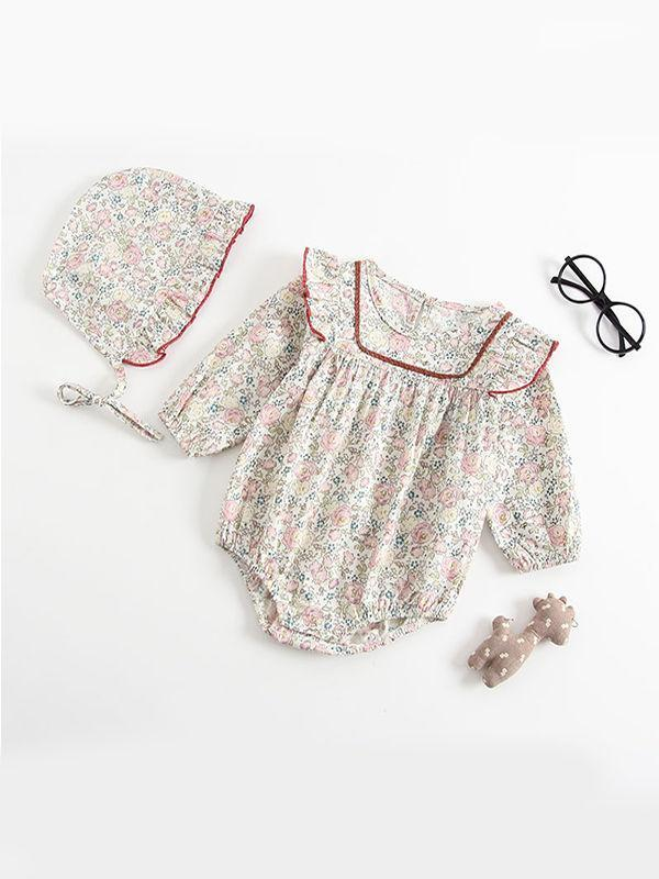 Floral Print Pleated Romper Onesies with Detachable Hat 2-piece Set