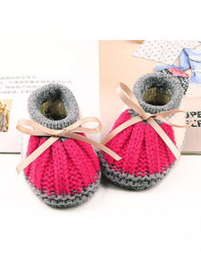 Bowknot Lacing Knitted Shoes Thermal Prewalker Baby Boat Socks