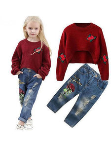Red Roses Sweater Ripped-Style Jeans Set Long sleeve Top + Cool Trousers