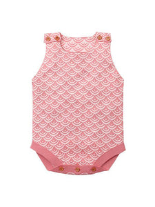 Fish Scales Onesies Knitted Sleeveless Bodysuit
