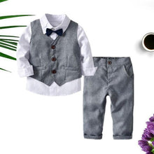 Load image into Gallery viewer, 4-Piece Boy's Casual Outfits Suits Set White Long Sleeve Bow Blouse Top and Grey Waistcoat and Grey Suit Pants