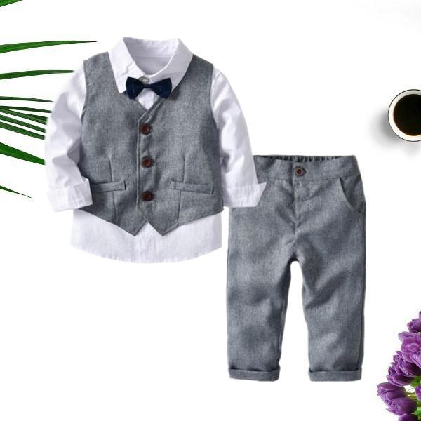 4-Piece Boy's Casual Outfits Suits Set White Long Sleeve Bow Blouse Top and Grey Waistcoat and Grey Suit Pants