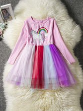Load image into Gallery viewer, Fashion Unicorn Pattern Long Sleeve Tulle Princess Dress Halloween Party Dress